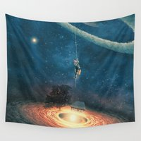redhead Wall Tapestries featuring My dream house is in another galaxy by Paula Belle Flores