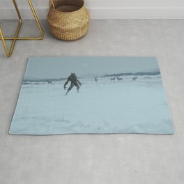 a lonely wolf Rug