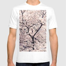 Cherry Blossom * White Mens Fitted Tee MEDIUM