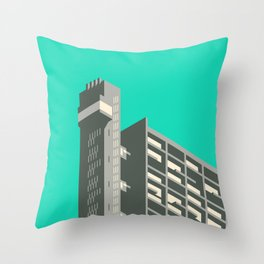 Trellick Tower London Brutalist Architecture - Turquoise Throw Pillow