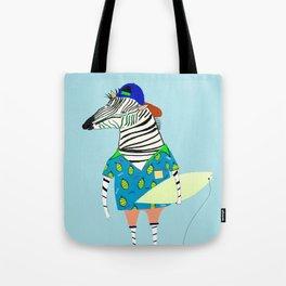 surfer zebra Tote Bag