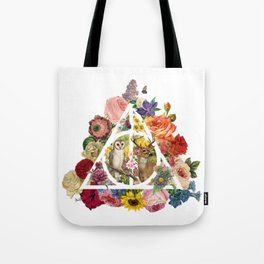 Floral Deathly Hallows Owl and Stag - White Tote Bag