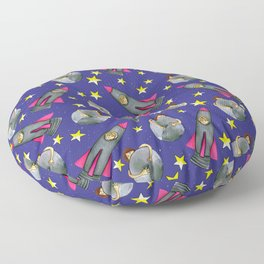 Put Your Arms Around The Moon Rocket Girl Floor Pillow