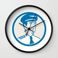engineer Wall Clocks featuring Flight Engineer Navigator Circle Retro by patrimonio