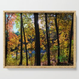 Walden Pond Autumn Forest  in Concord Massachusetts Serving Tray