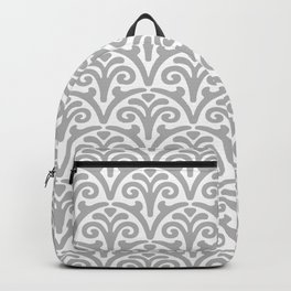 Floral Scallop Pattern Gray Backpack