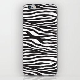 Animal Print, Zebra Stripes - Black White iPhone Skin