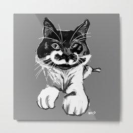 B&W Cat Metal Print