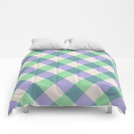 Green blue ivory violet geometric checker gingham Comforters