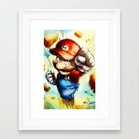 super mario Framed Art Prints featuring Super Mario by markclarkii