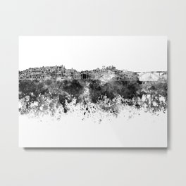 Porto skyline in black watercolor on white background Metal Print