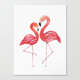 Flamingo Love Watercolor Painting Canvas Print