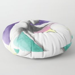 pensive rainbow woman Floor Pillow