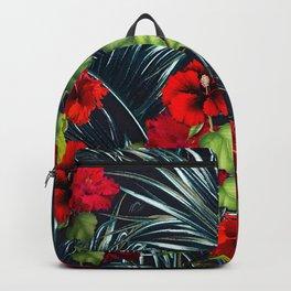 Hawaiian Red Hibiscus Rain Forest Backpack