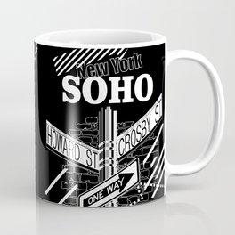 SoHo, New York Streets- white on black Coffee Mug