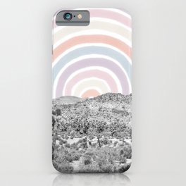 Happy Rainbow Rays // Scenic Desert Cactus Hill Landscape Watercolor Collage Dorm Room Decor iPhone Case