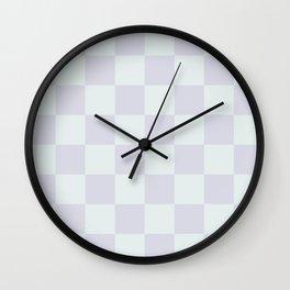 Pastel Gray Mini Checkers Wall Clock
