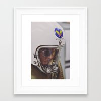 top gun Framed Art Prints featuring Top Gun Test Pilot. by Pamela Steiner