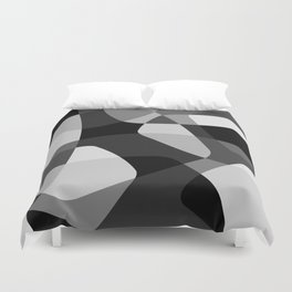 Mid Century Modern Abstract Rock Layers Charcoal Duvet Cover