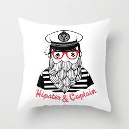 Captain & Hipster Throw Pillow