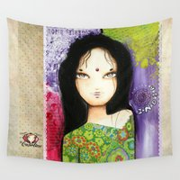 indian Wall Tapestries featuring Indian by ByCabotine