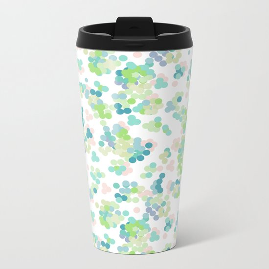 Blue green polka dots on a white background . Metal Travel Mug