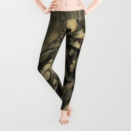 Owl colored pencil drawing descending style Leggings