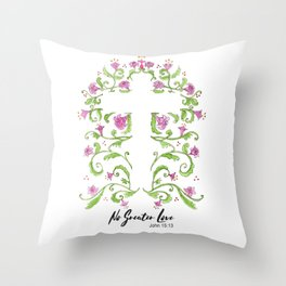 No Greater Love Floral Cross Throw Pillow