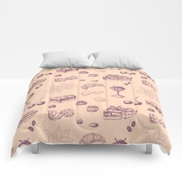 Sweet pattern with various desserts. Comforters