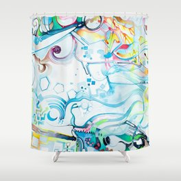 Fibroblasts - Watercolor Painting Shower Curtain