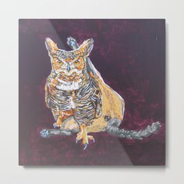 Owl Cat Metal Print