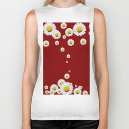 WHITE CASCADING DAISIES ON BURGUNDY Biker Tank