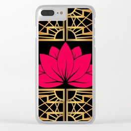 Art Deco Retro Lotus (amaranth-black) Clear iPhone Case