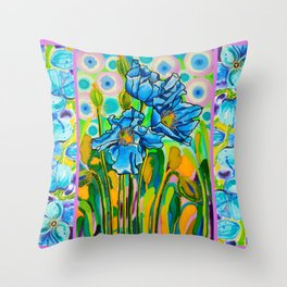 Blue Poppies 2 Throw Pillow