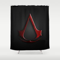 assassins creed Shower Curtains featuring CREED ASSASSINS LOGO by Bilqis