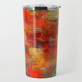 AUTUMN HARVEST - Fall Colorful Abstract Textural Painting Warm Red Orange Yellow Green Thanksgiving Travel Mug