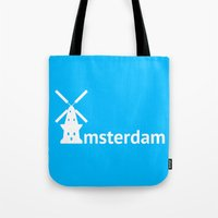 amsterdam Tote Bags featuring Amsterdam by Flat Design