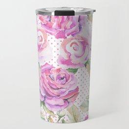 Watercolor hand painted pink lavender roses polka dots Travel Mug