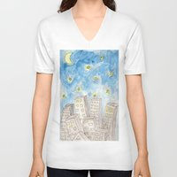 starry night V-neck T-shirts featuring Starry night by Susan
