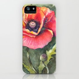 Poppy Single Watercolor iPhone Case