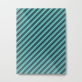 Electric Blue and Black Diagonal RTL Var Size Stripes Metal Print