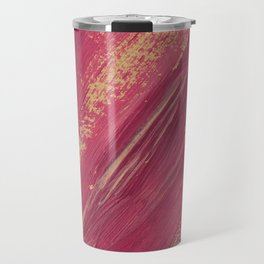 Abstract pink and yellow paint smears Travel Mug