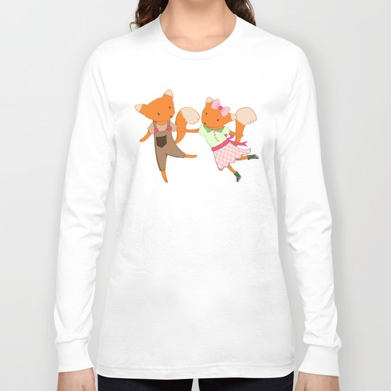 Two Foxes walking through the Forest Long Sleeve T-shirt