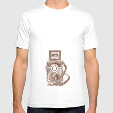 Camera Sketch 3 MEDIUM White Mens Fitted Tee