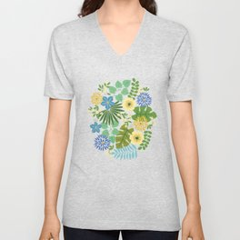 Tropical Blue and Yellow Floral Unisex V-Neck