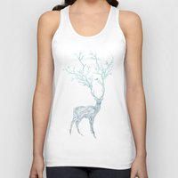 line Tank Tops featuring Blue Deer by Huebucket