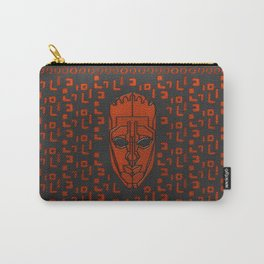Aboriginal Mask and pattern - Black and Orange Leather work Carry-All Pouch