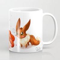 eevee Mugs featuring Foxes by CelestKirin
