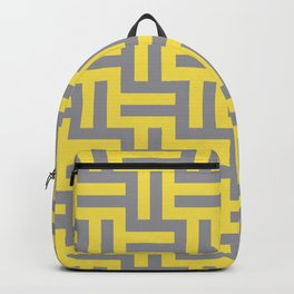 Large Grid Stripes Tessellation Pattern Pantone 2021 Color Of The Year Illuminating and Ultimate Gray  Backpack