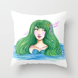 Curious Mermaid Throw Pillow